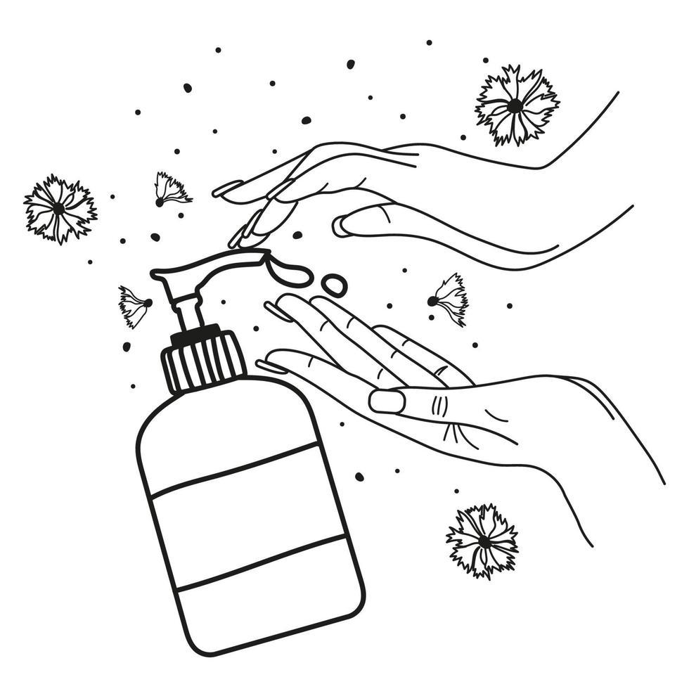 handtvätt. linje vektorillustration. flytande tvål och kvinnliga händer på isolerad vit bakgrund vektor