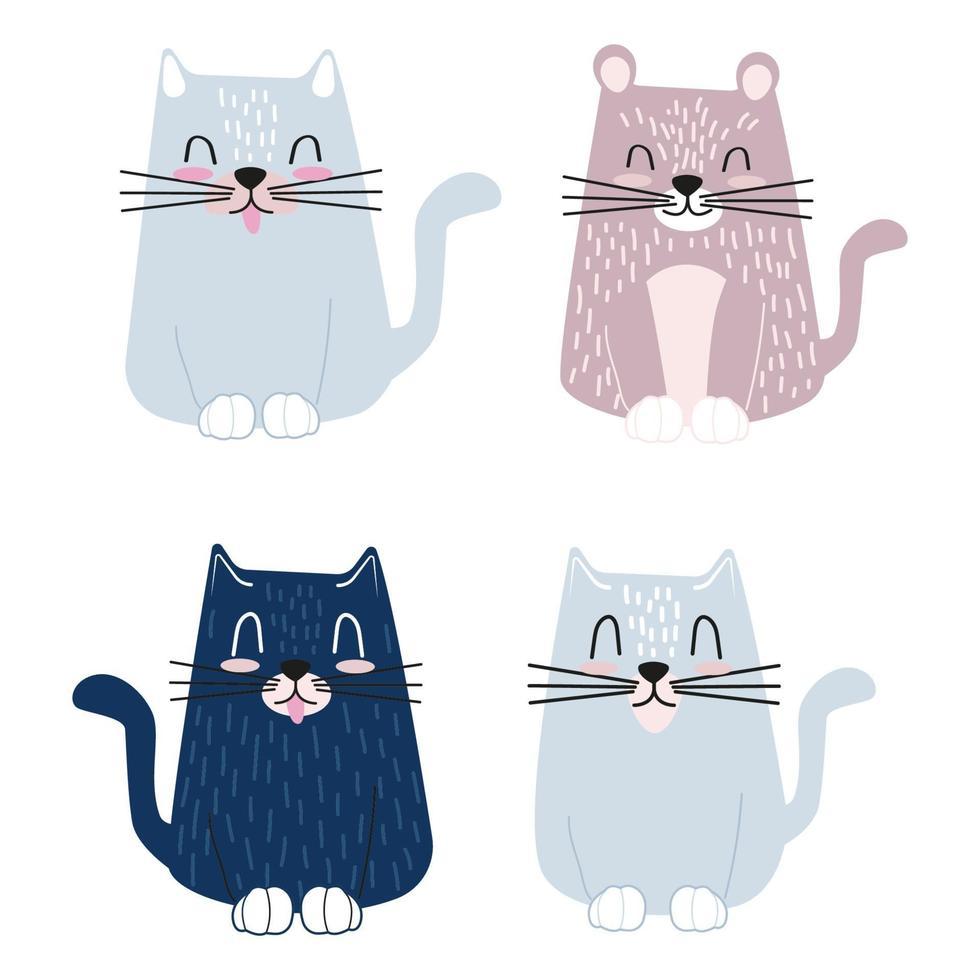 uppsättning söta roliga katter. platt vektorillustration vektor