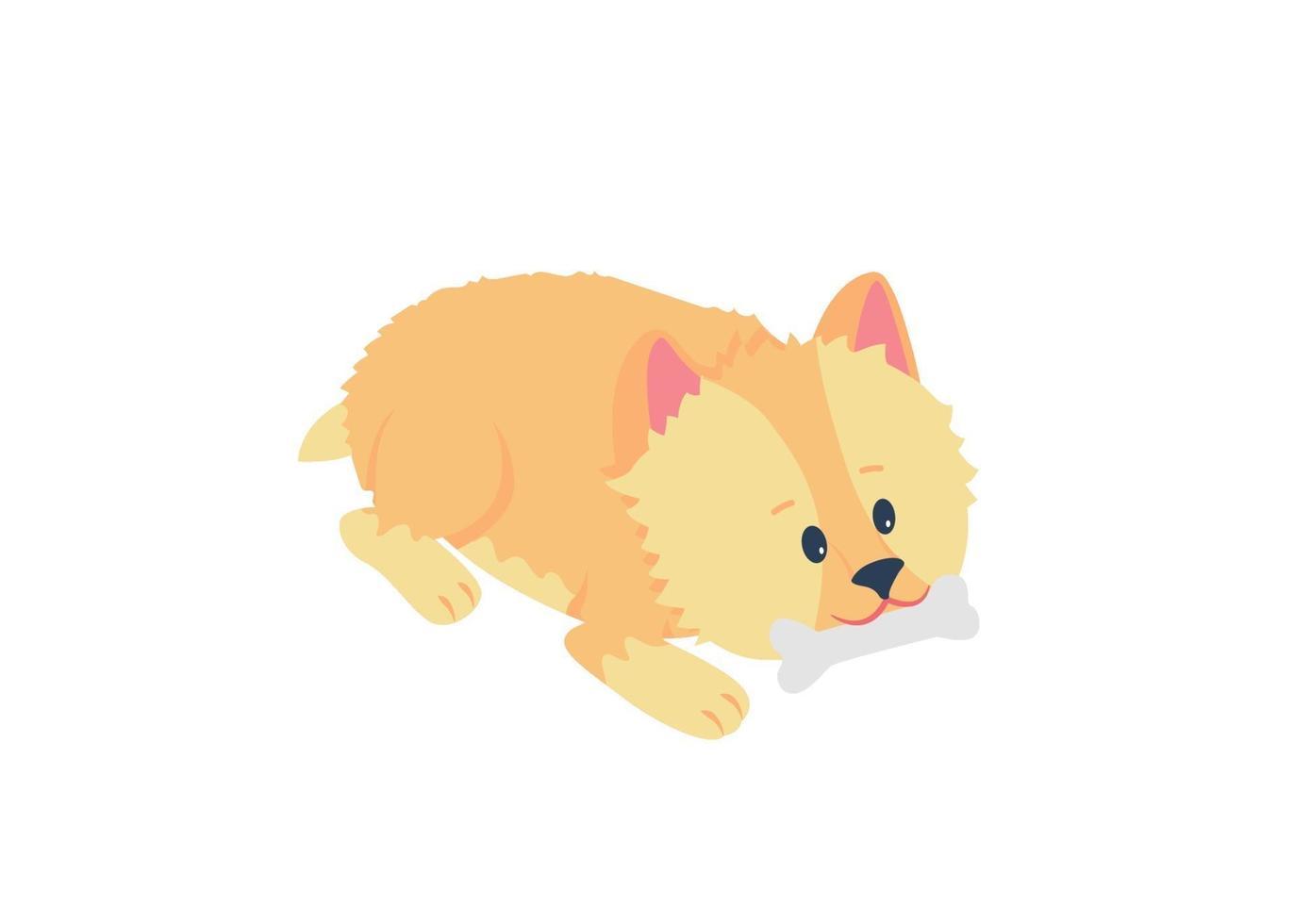 Terrier Welpen kauen Knochen flache Farbe Vektor detaillierte Charakter