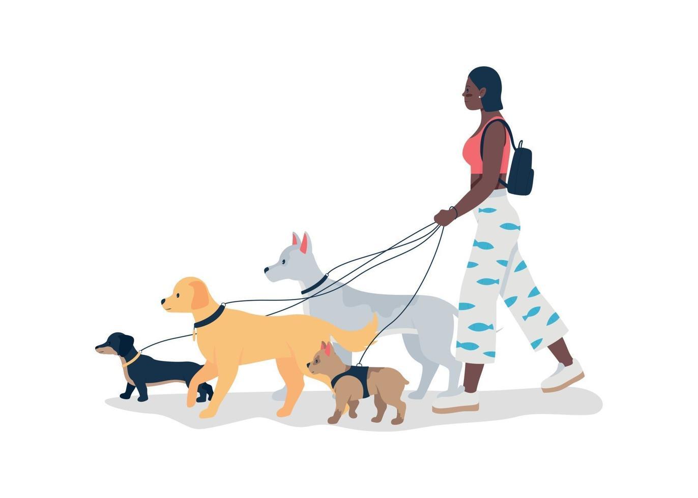 afroamerikansk flicka gå hundar i koppel platt färg vektor detaljerad karaktär