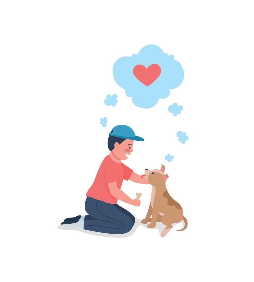 glad kaukasisk unge utbildning hund platt färg vektor detaljerad karaktär