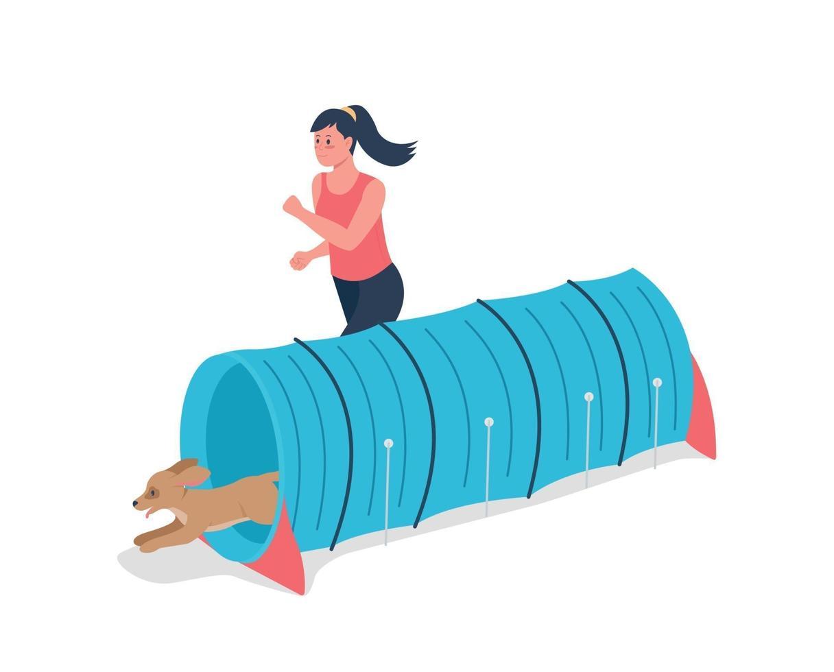 kvinna kör med hund för konkurrens platt färg vektor detaljerad karaktär