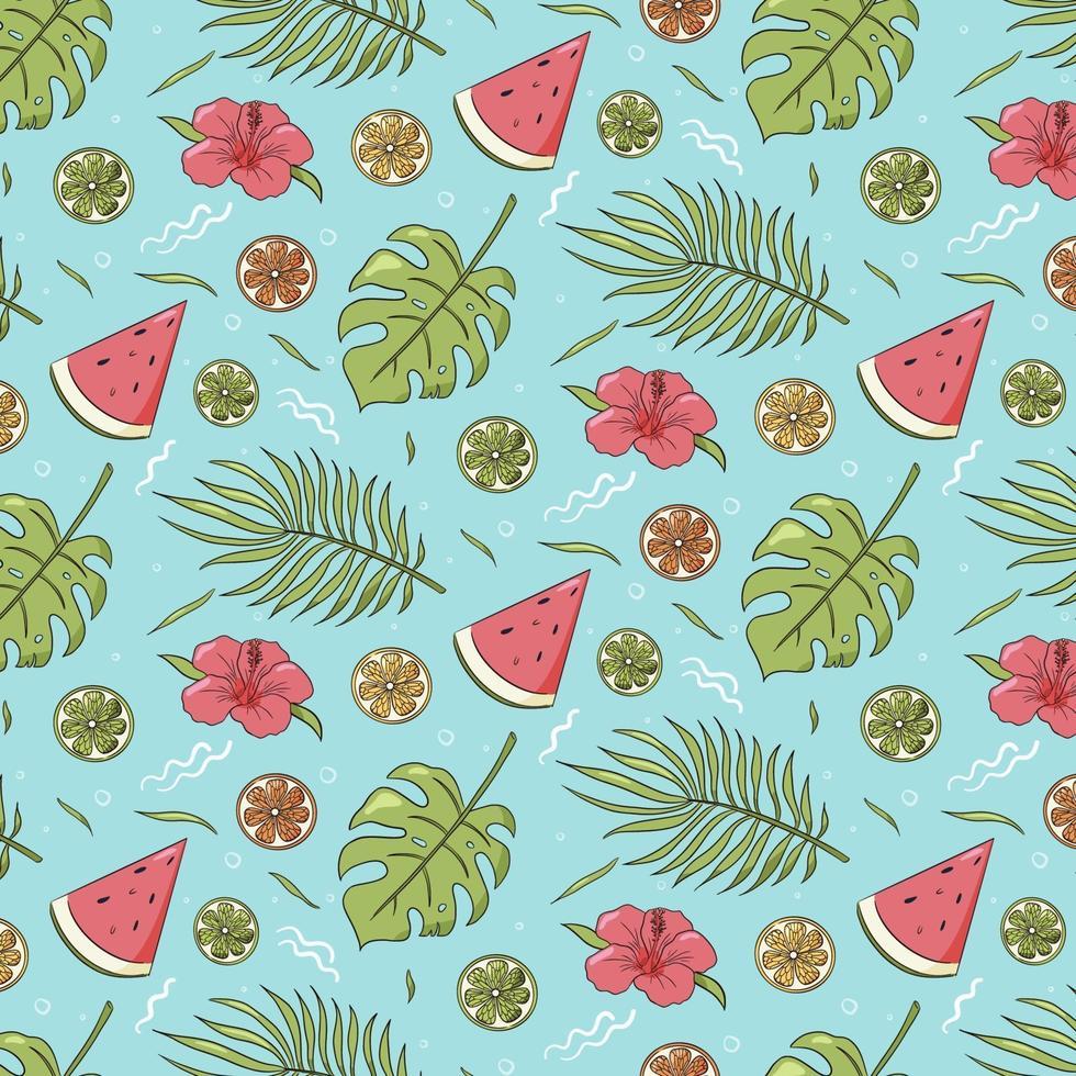 sömlösa mönster av sommarvibbar. upprepad prydnad av tropiska löv, vattenmelon och citrusfrukter. vektor färgglada handritad illustration för omslagspapper, tapeter, textil och tyg