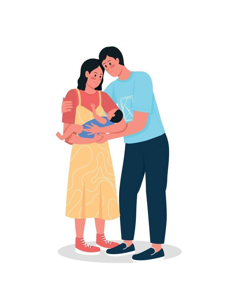lyckliga par med nyfödda baby platt färg vektor detaljerade tecken