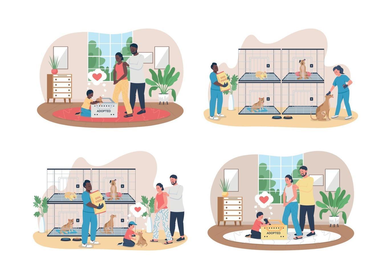 Veterinärmedizinische Pflege für Haustiere 2d Vektor Web Banner, Poster Set