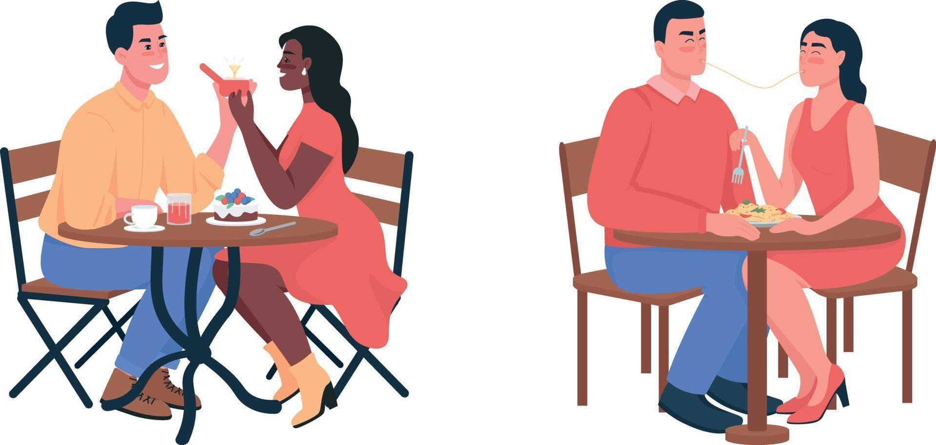 par under romantisk middag platt färg vektor detaljerad teckenuppsättning