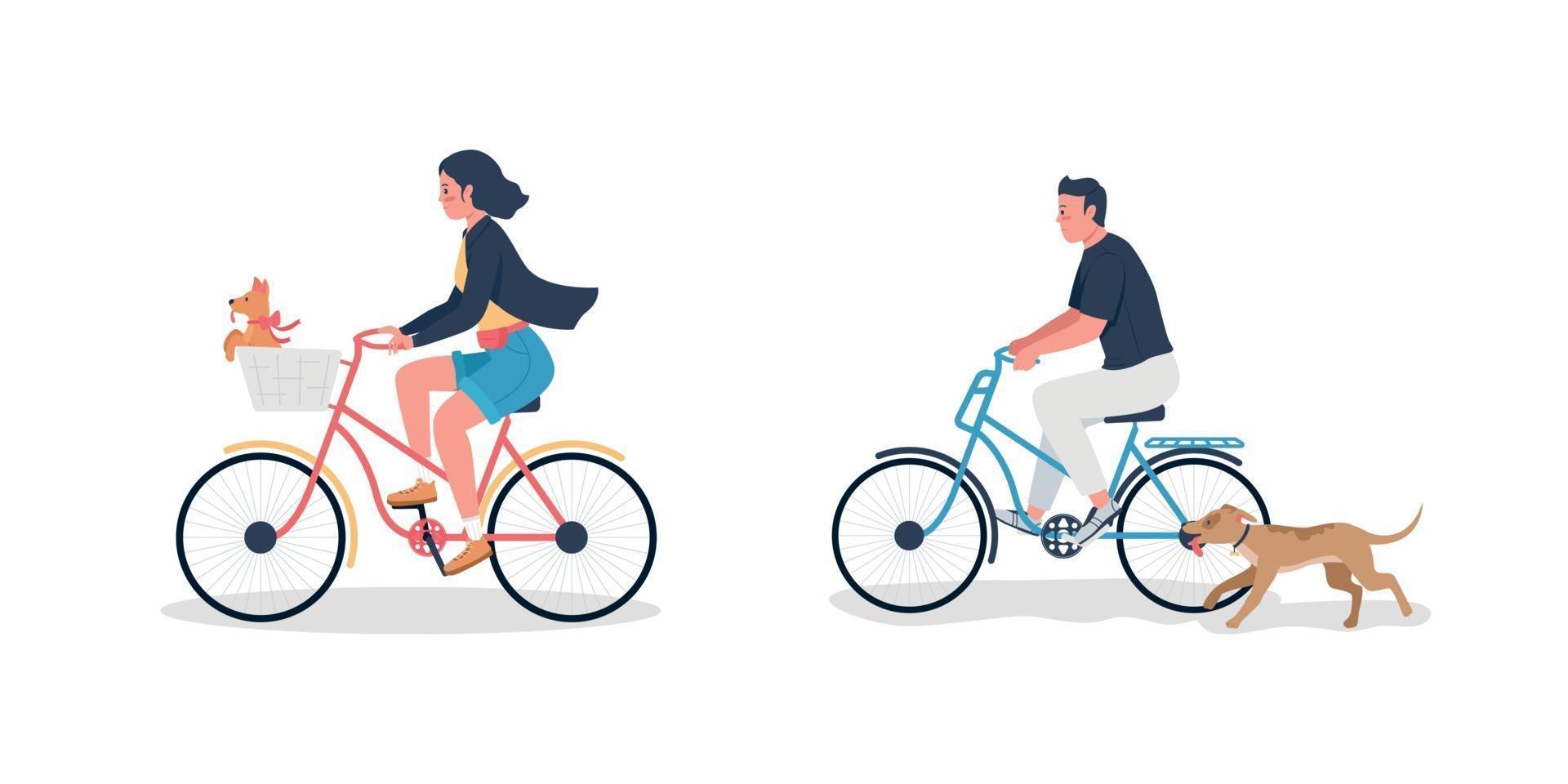 kaukasiska man och kvinna på cykel med hundar platt färg vektor detaljerad teckenuppsättning