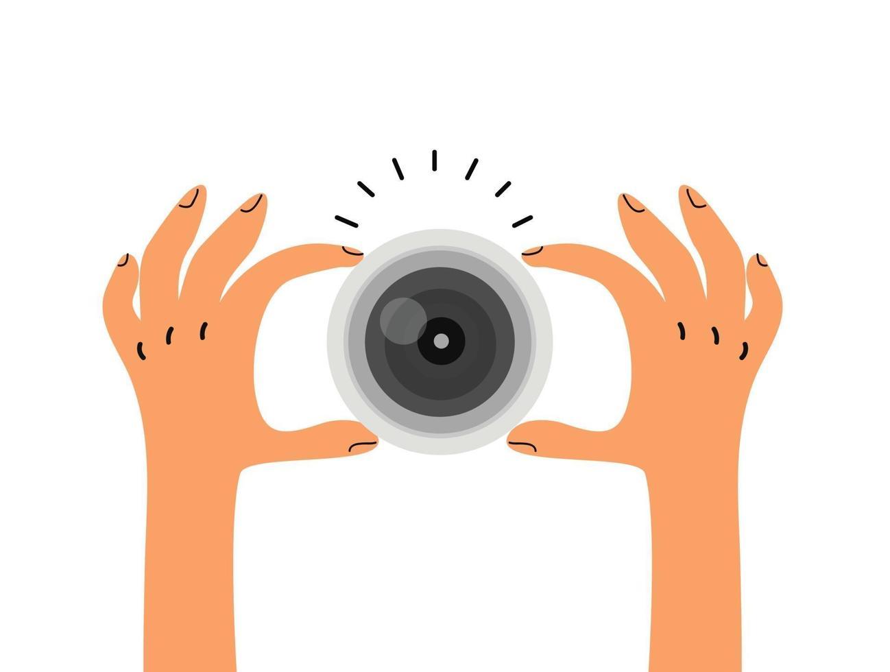 hand som håller kameralinsen i platt stil vektor