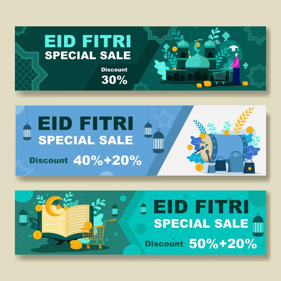 eid fitri specialförsäljningsbanner vektor