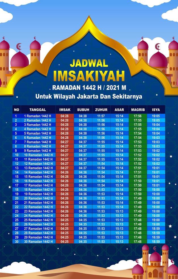 kalender imsakiyah för jakarta-området vektor