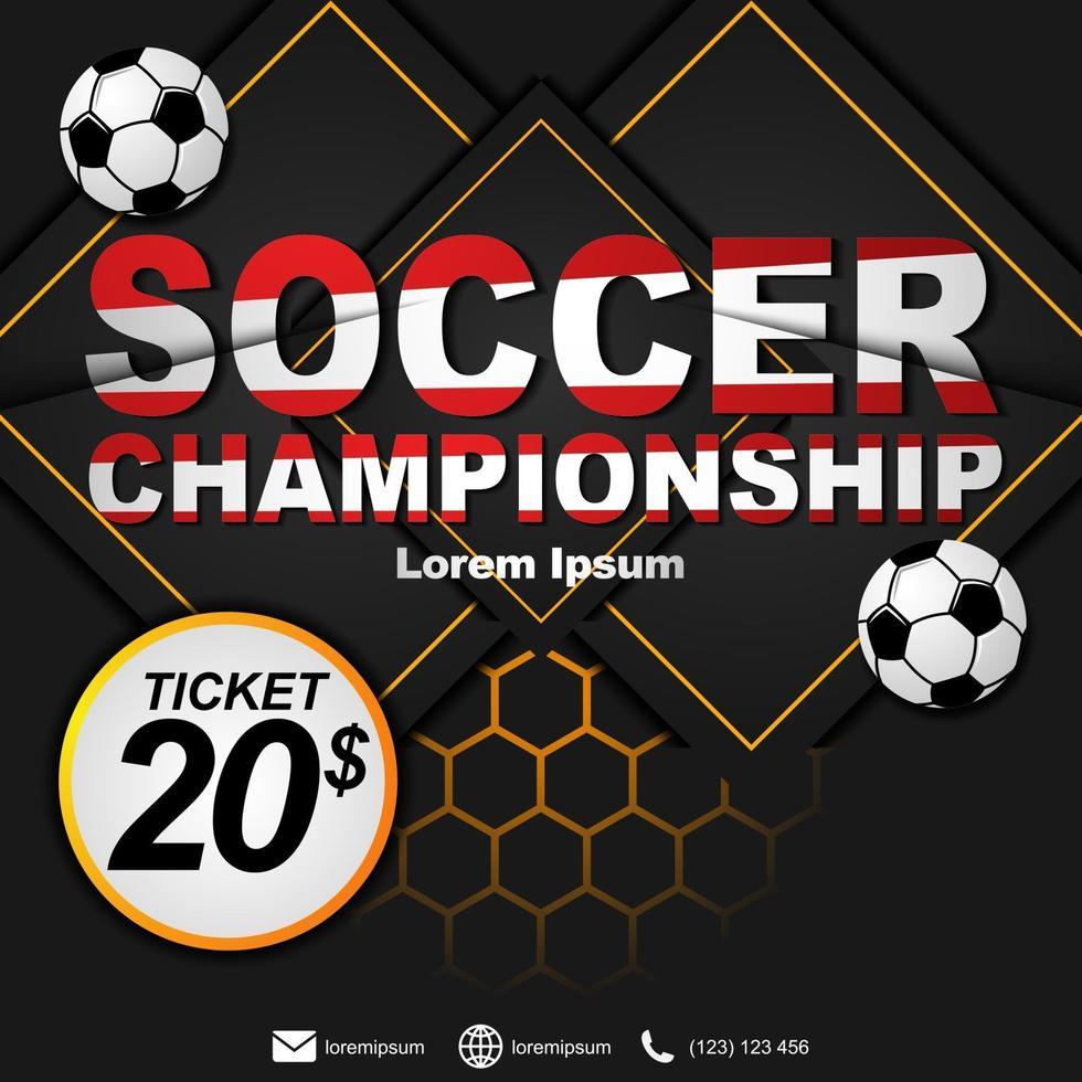 sociala medier postmall för fotbollsmästerskap. fotbollsmästerskap affisch. vektor