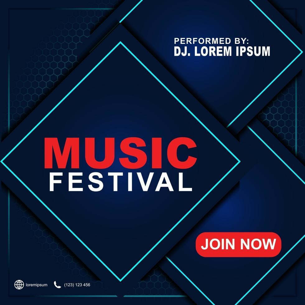 musik festival banner mall för sociala medier post, webbannonser, affisch. musikfestival affischmall. Reklamblad för bakgrund 3d för musikfestival. vektor