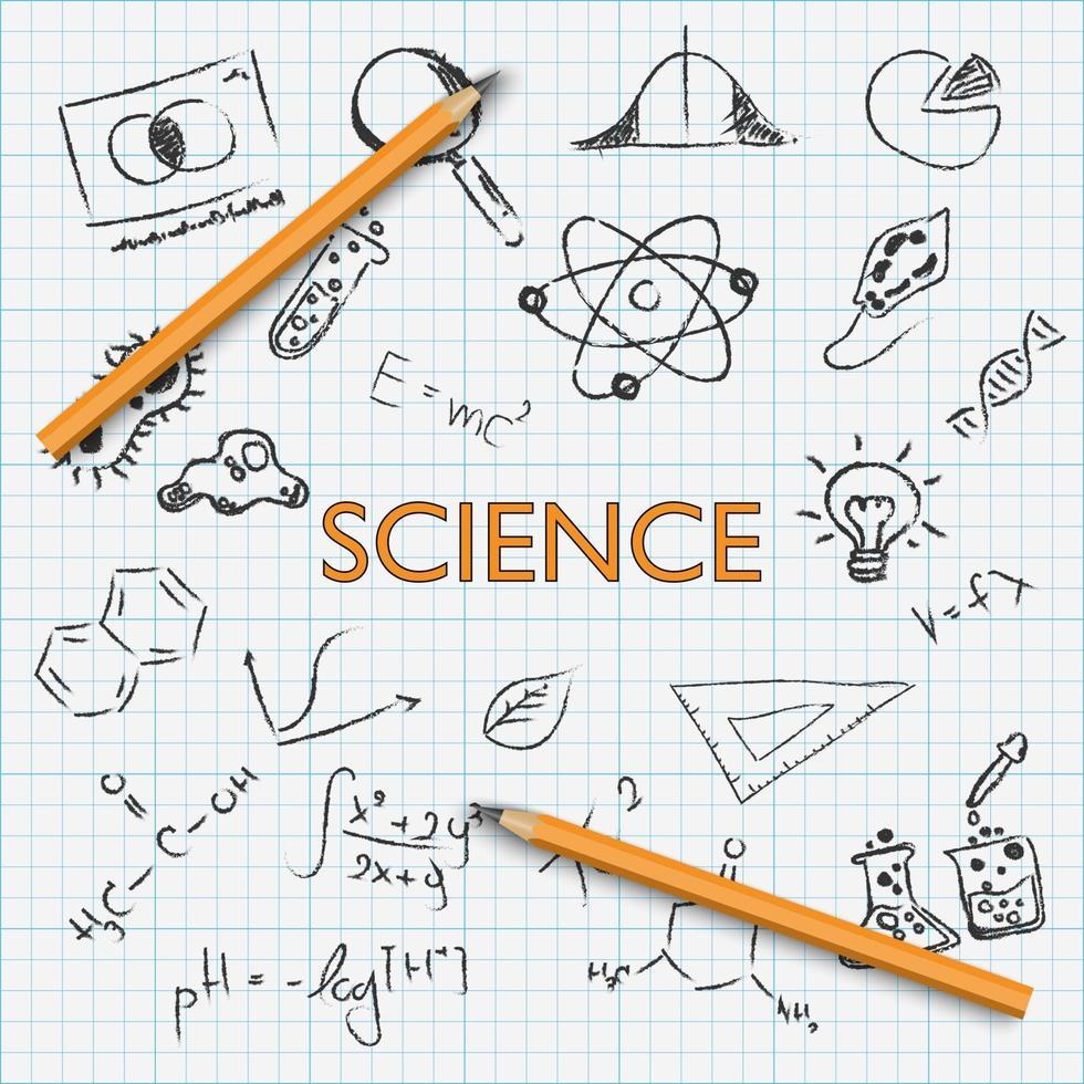 vetenskap utbildning hand Rita klotter med penna på grafpapper, vektorillustration vektor