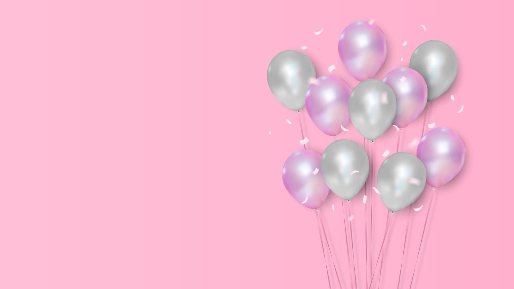 rosa und weiße Farben mit realistischen fliegenden Heliumballons, Feier, Festivalhintergrund, Grußfahne, Karte, Plakat, Vektorillustration vektor