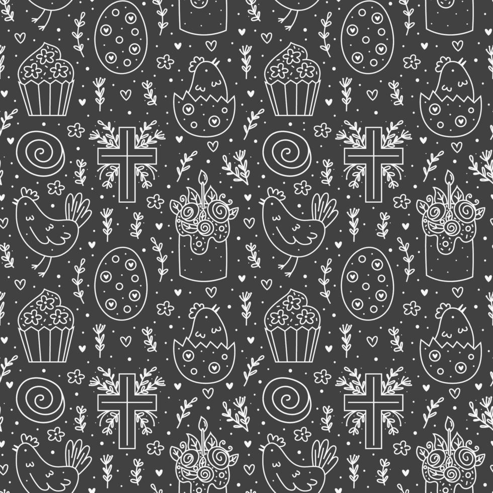 glad påskhelg klotter monokrom konturteckningar. tavlan ritningar. kaka, muffins kristna kors, kyckling, ägg, höna, blomma. sömlösa mönster, konsistens. förpackningsdesign. isolerad på mörk bakgrund vektor
