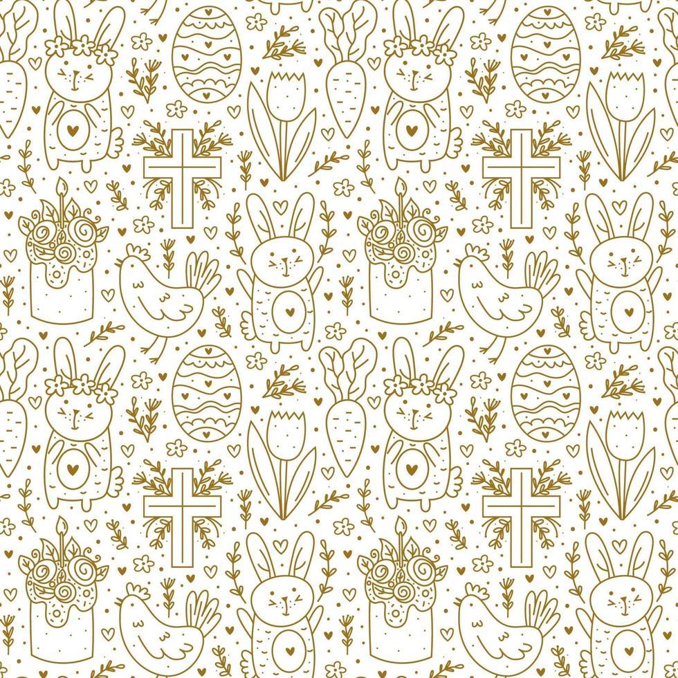 Happy Easter Holiday Doodle Line Art. goldenes Design. Kaninchen, Hase, christliches Kreuz, Kuchen, Huhn, Ei, Henne, Blume, Karotte. nahtloses Muster, Textur, Hintergrund. Verpackungspapier. vektor