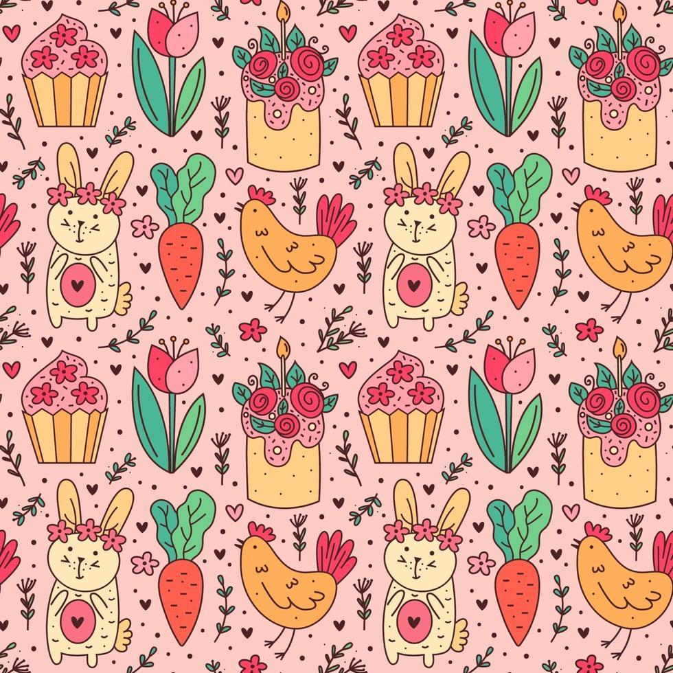 glad påskhelg klotter konst. kanin, kanin, muffin, tårta, kyckling, höna, blomma, morot. sömlösa mönster, konsistens, bakgrund. förpackningsdesign. vektor