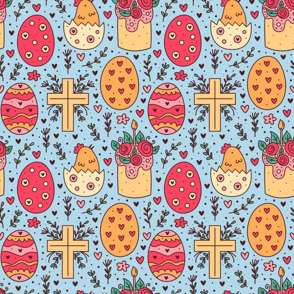 glückliches Osterfeiertagskritzeln nahtloses Muster. Kuchen, Huhn im Ei, christliches Kreuz. Design von Verpackungspapier. vektor