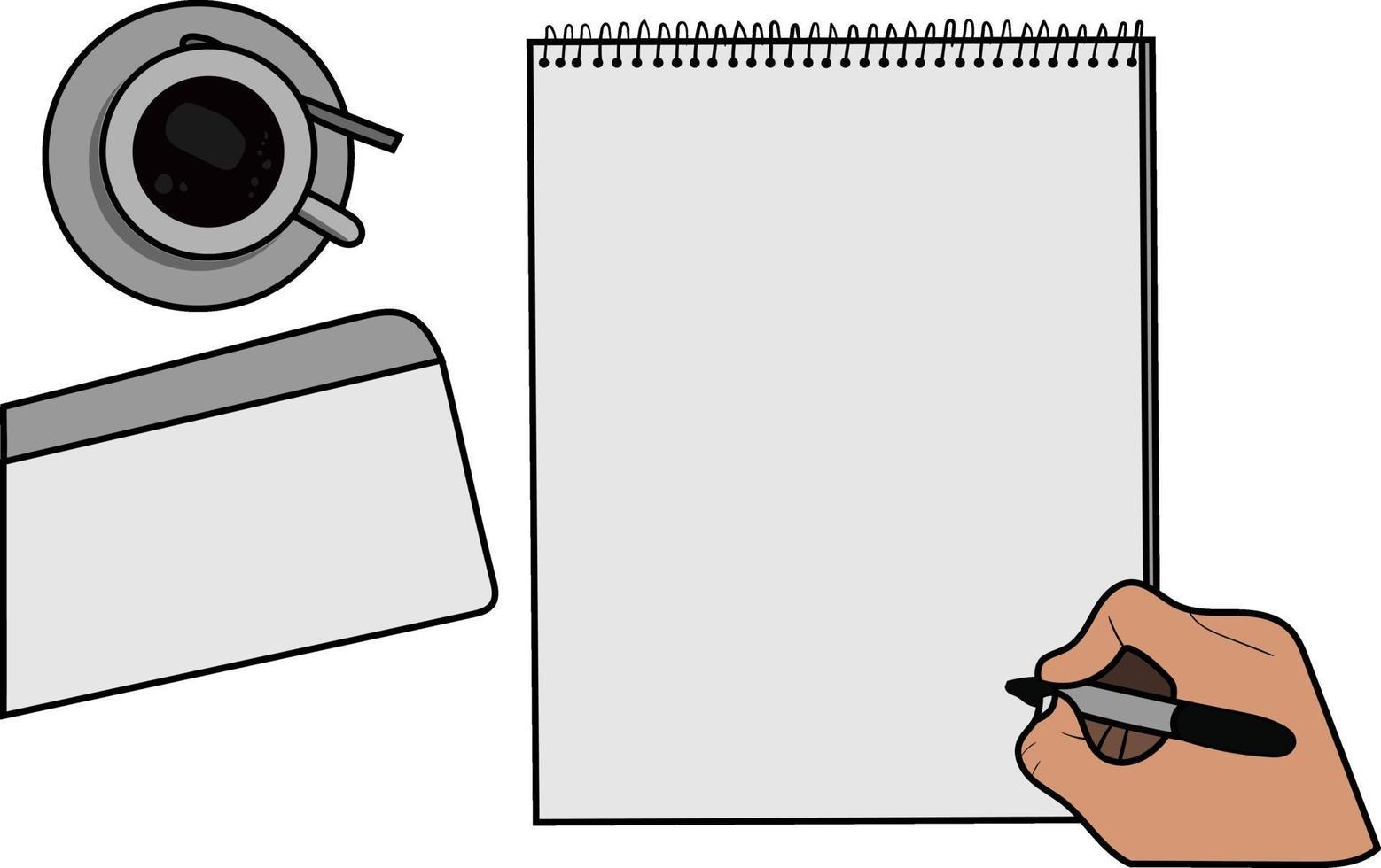 pappersmodell med en kopp kaffe, kuvert och en hand som håller en penna vektor