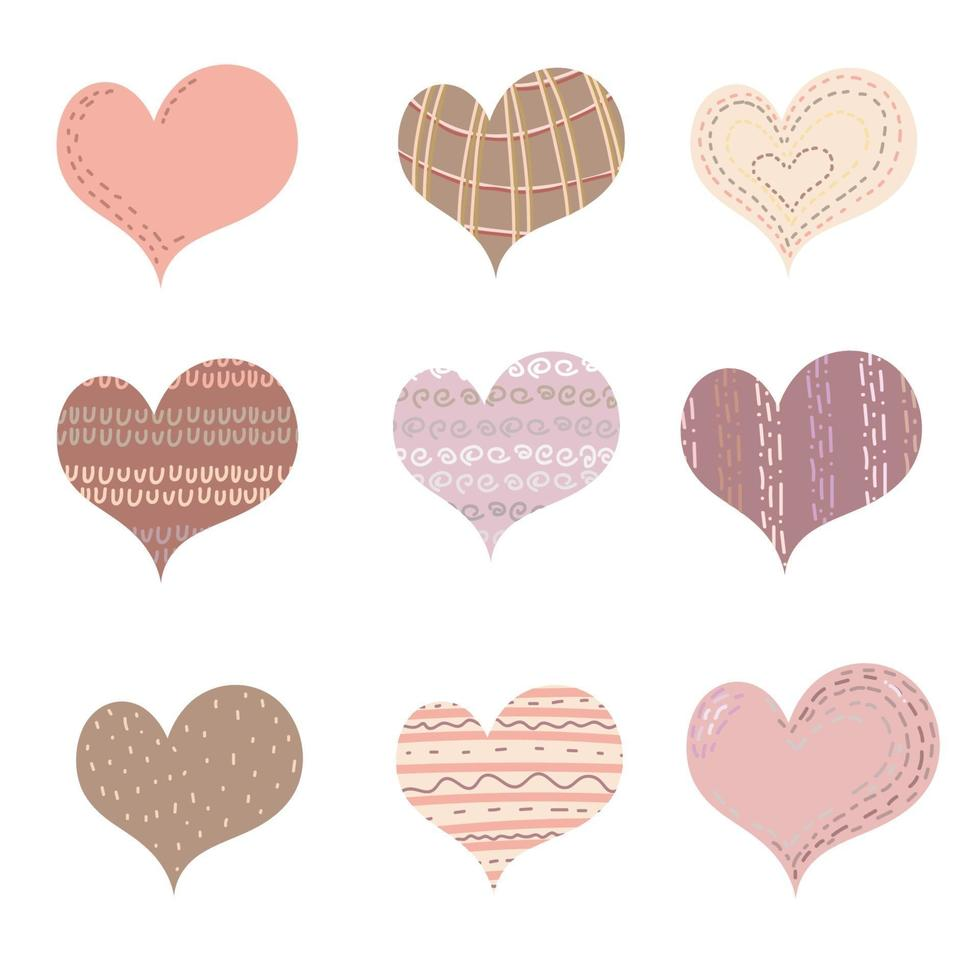 Satz Herz, Liebe Valentinstag Symbol. Herz gemalte Ikonen gesetzt auf weißem Hintergrund. eine Sammlung handgeschriebener Boho-Herzen. kreative Kunst, ein modernes Konzept. Vektorillustration vektor