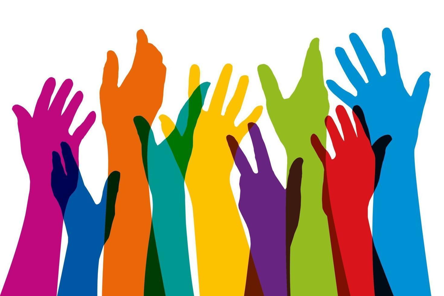 upphöjda händer i olika färger symbol för enhet vektor