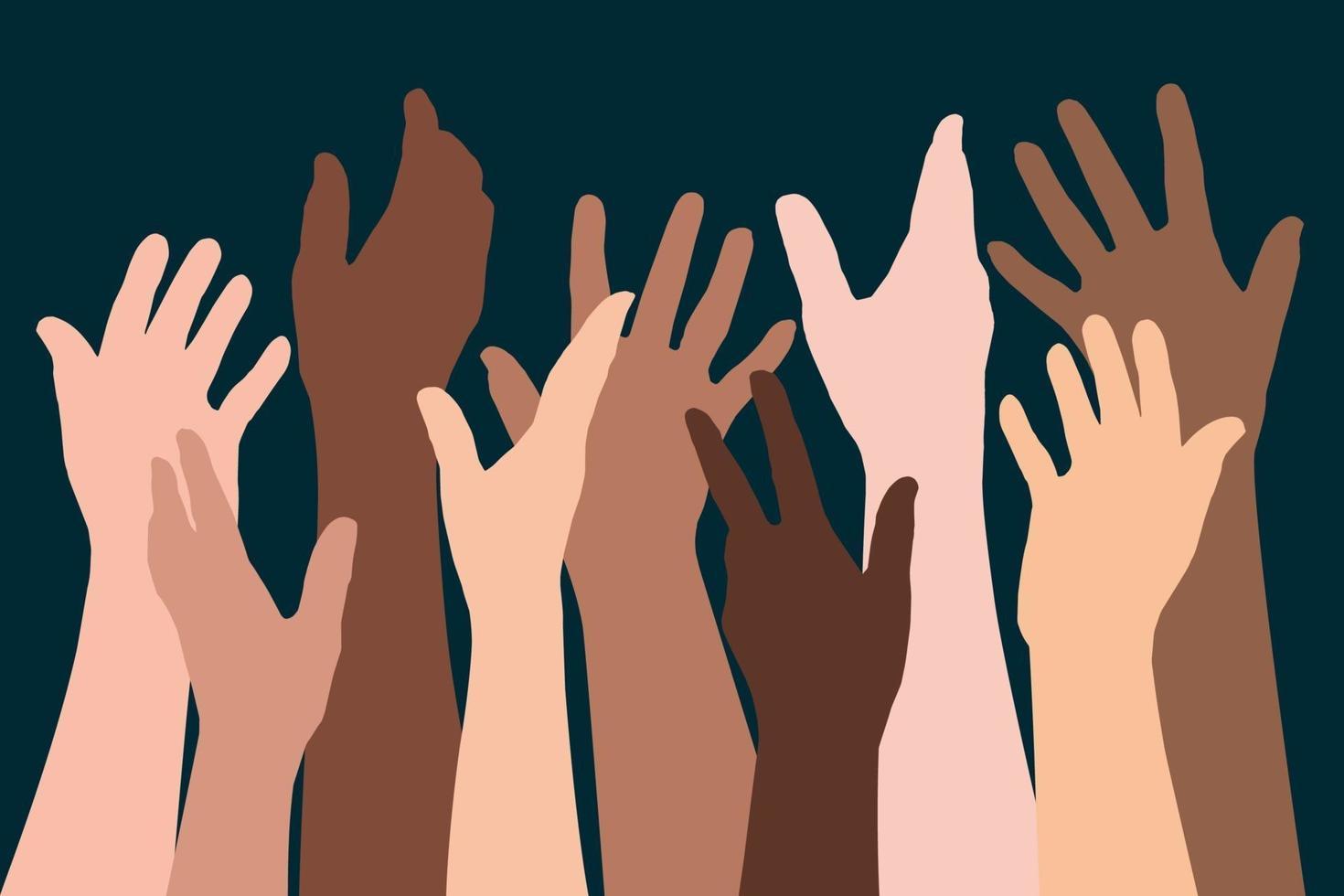 höjde händerna på olika etniciteter symbol för broderskap vektor