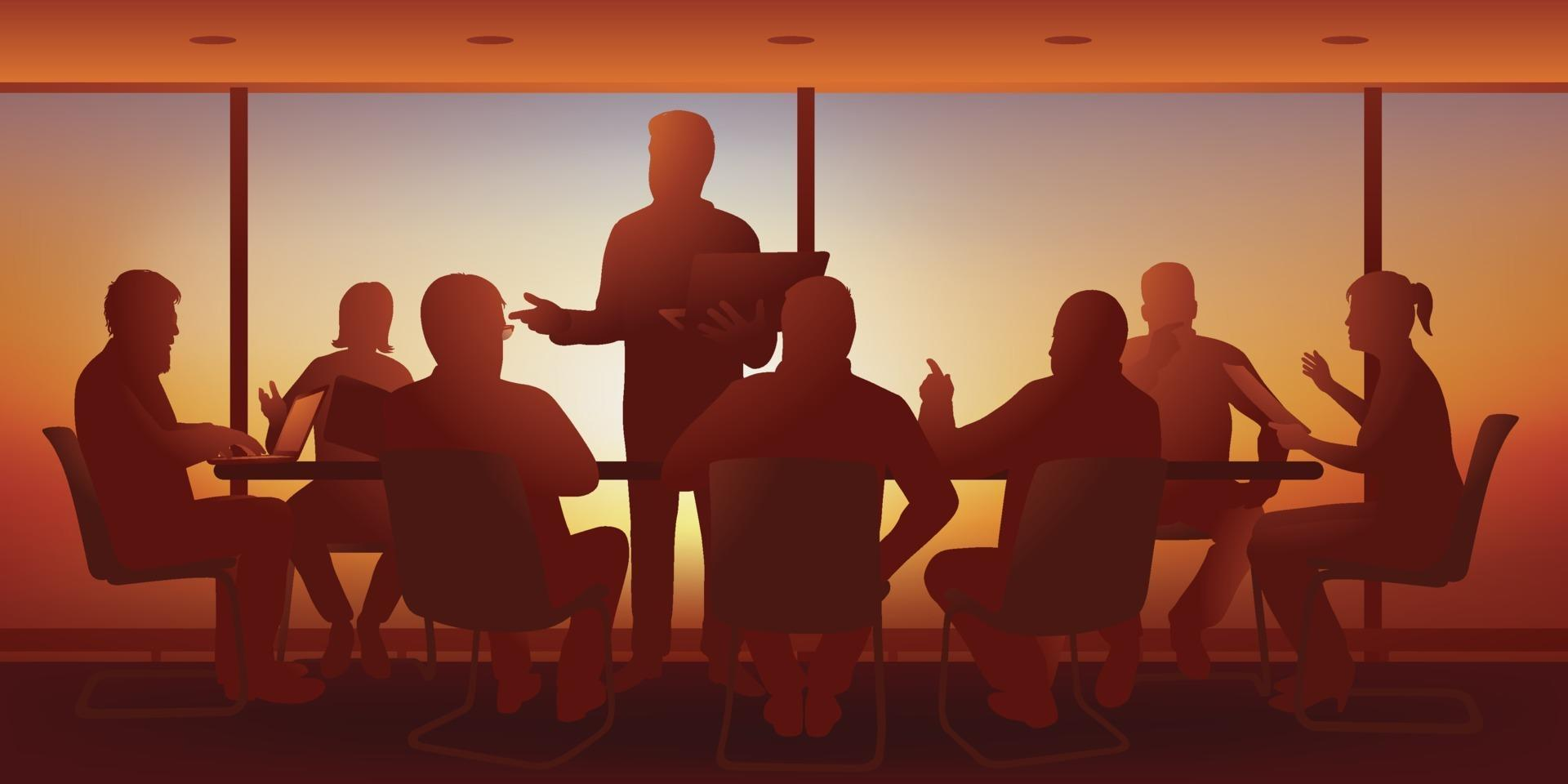 strategiskt ledningsmöte i ett företag. vektor