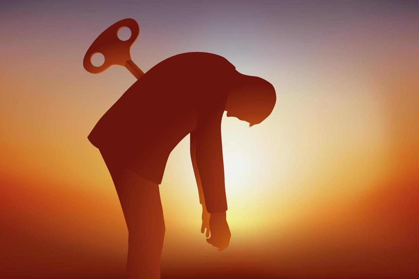 en man i utbrändhet tappar sin energi vektor