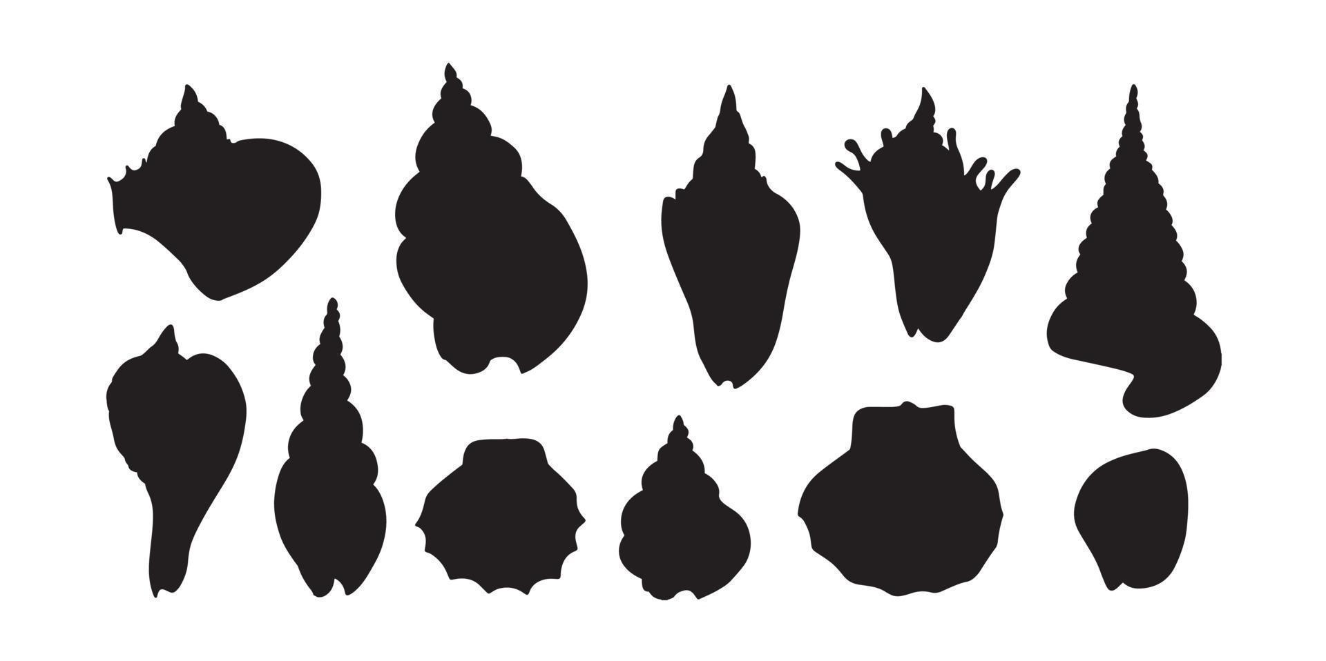 Silhouette Satz von Muschel. verschiedene Form Muschel. andere Muschelform. vektor