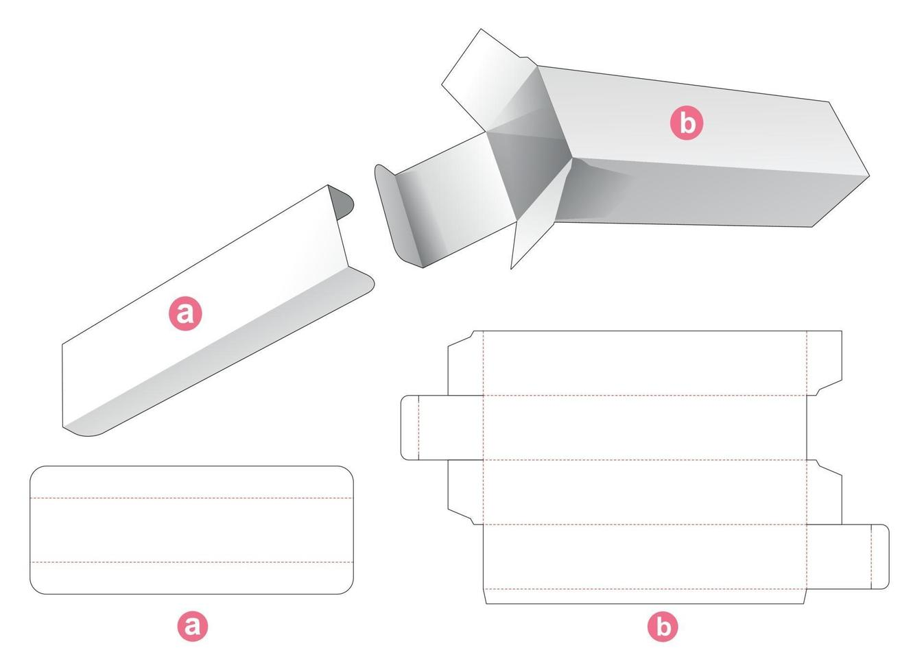 lång förpackningslåda med partition insats stansad mall vektor