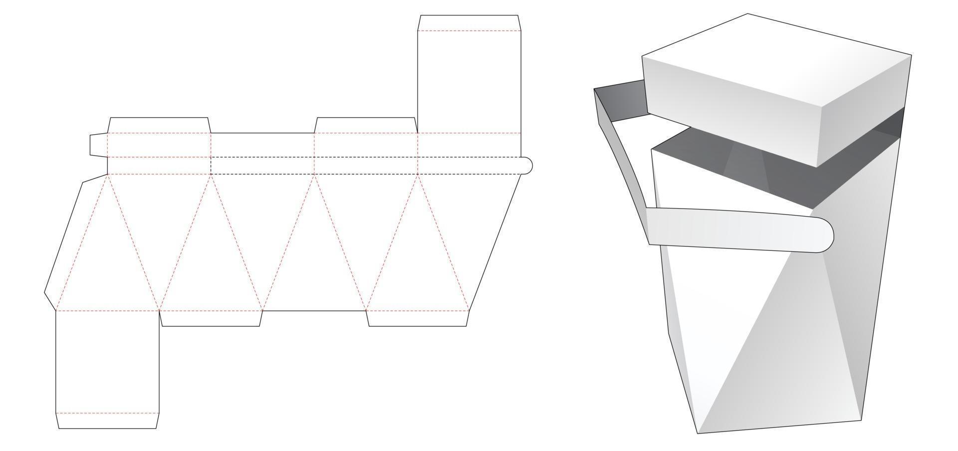 blixtlås topp flip prisma förpackning låda stansad mall vektor