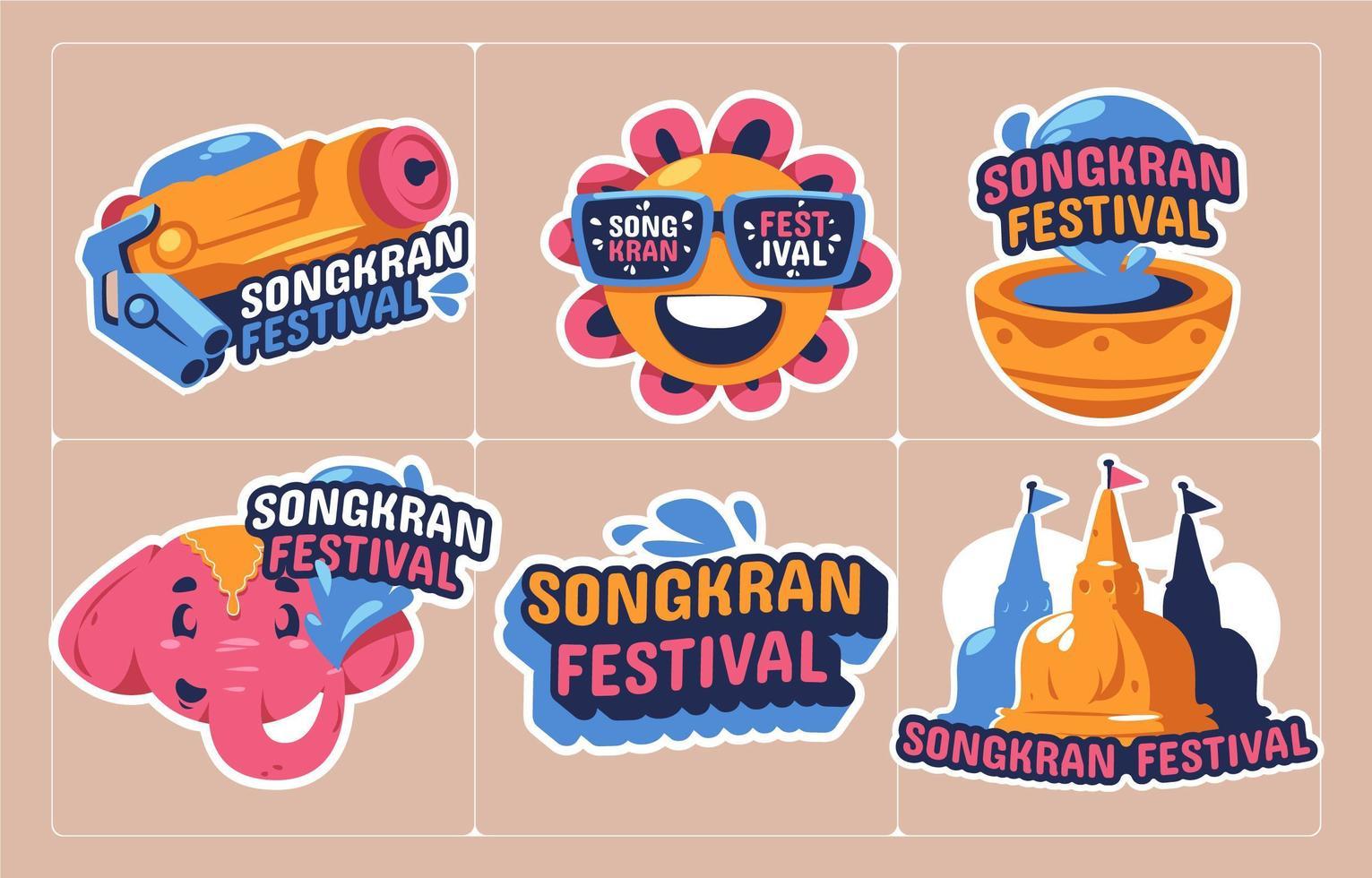lustige Songkran Festival Aufkleber Sammlung vektor