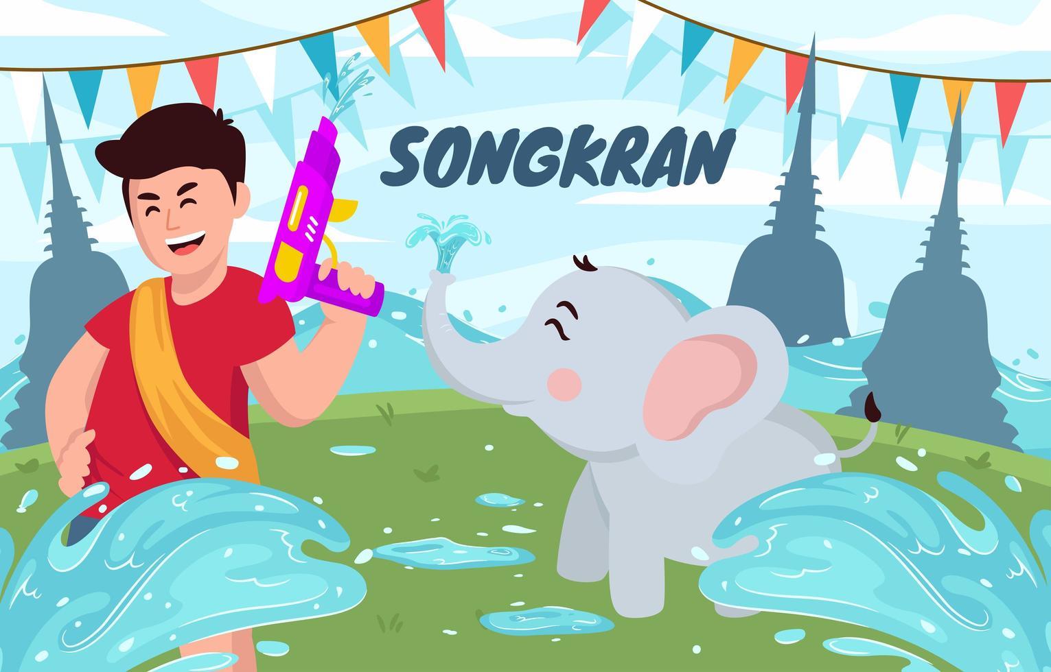 songkran festival med glada barn och elefant vektor