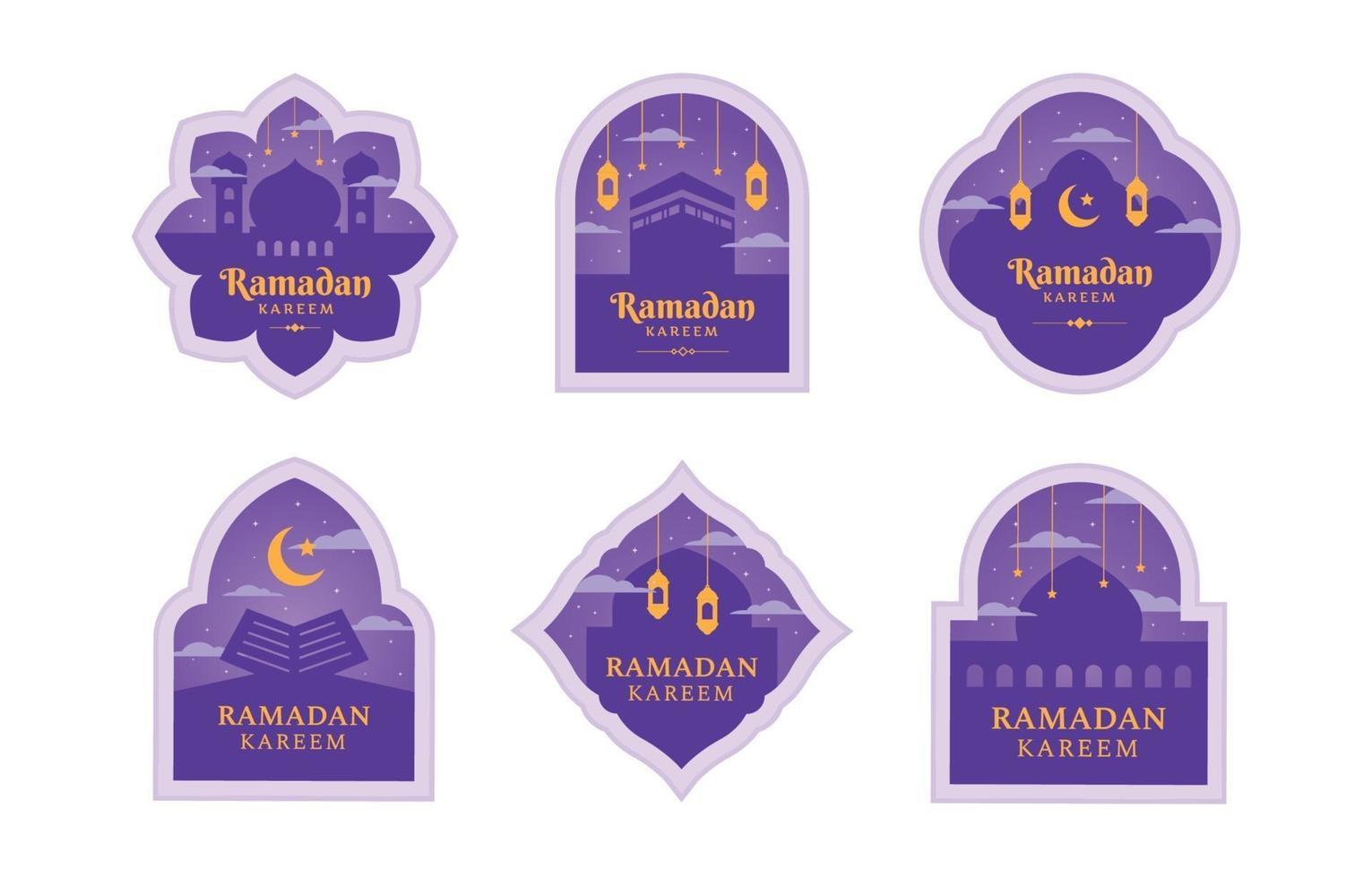 platt ramadan etikett med lila färg vektor