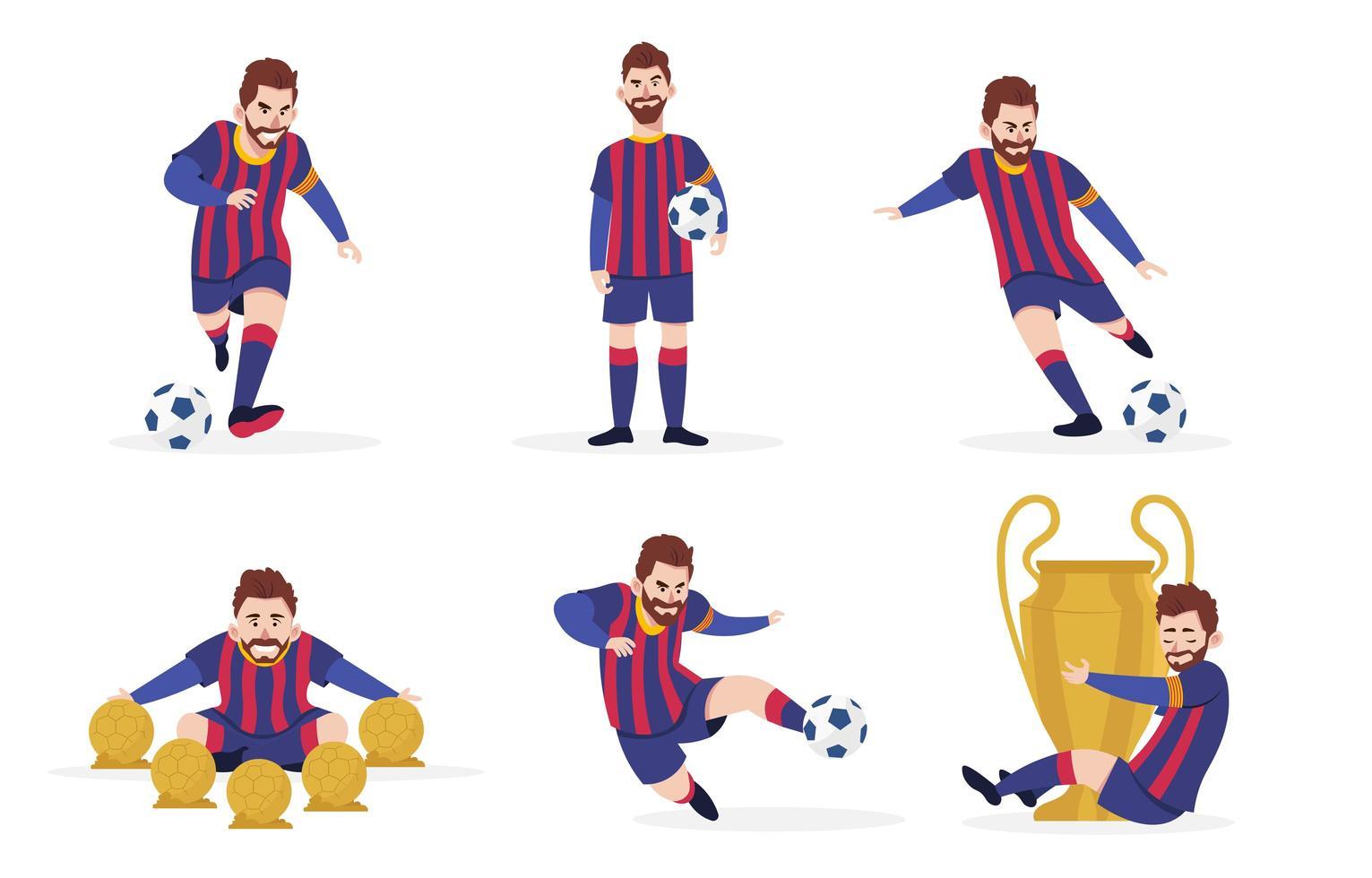 Sammlung von Fußballspielercharakteren vektor
