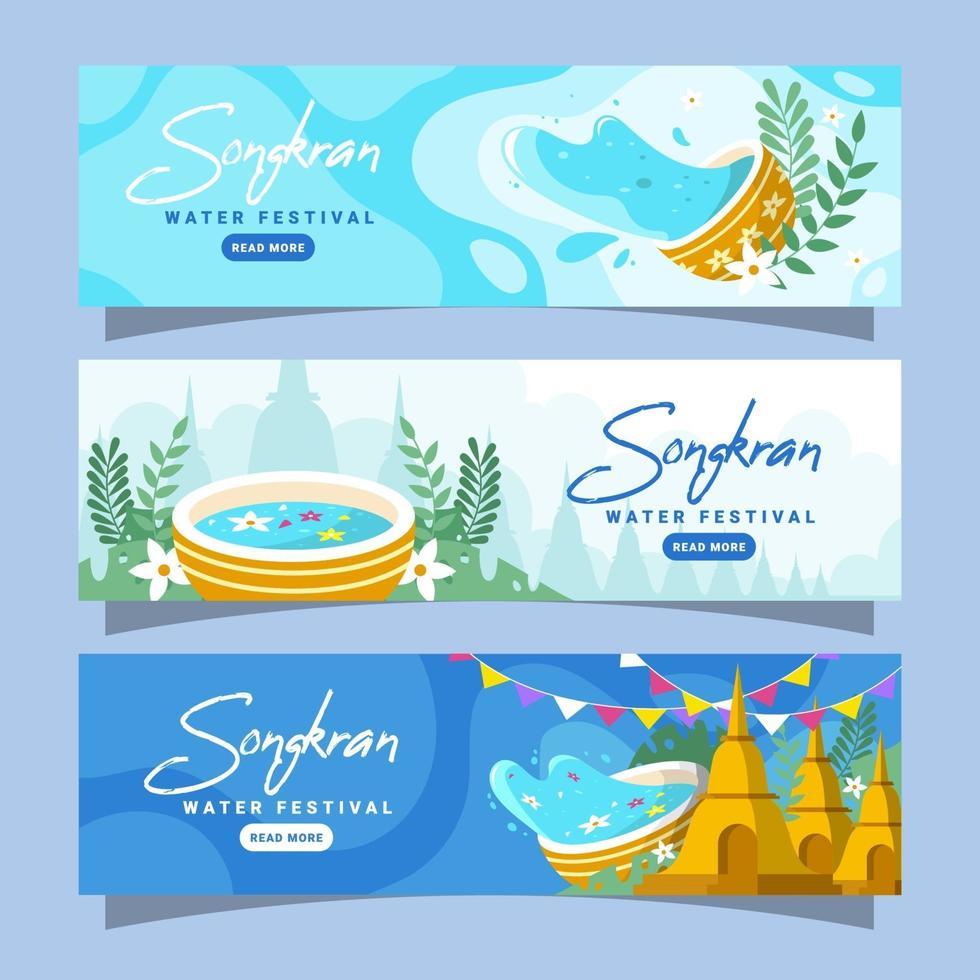 Songkran vatten festival banner samling vektor
