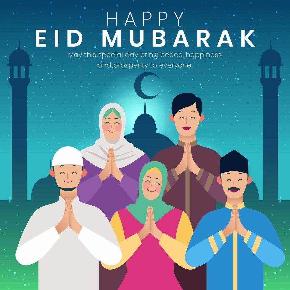 lyckligt eid mubarak familjekoncept vektor