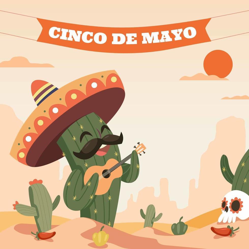 glad cinco de mayo kaktus med sombrero vektor