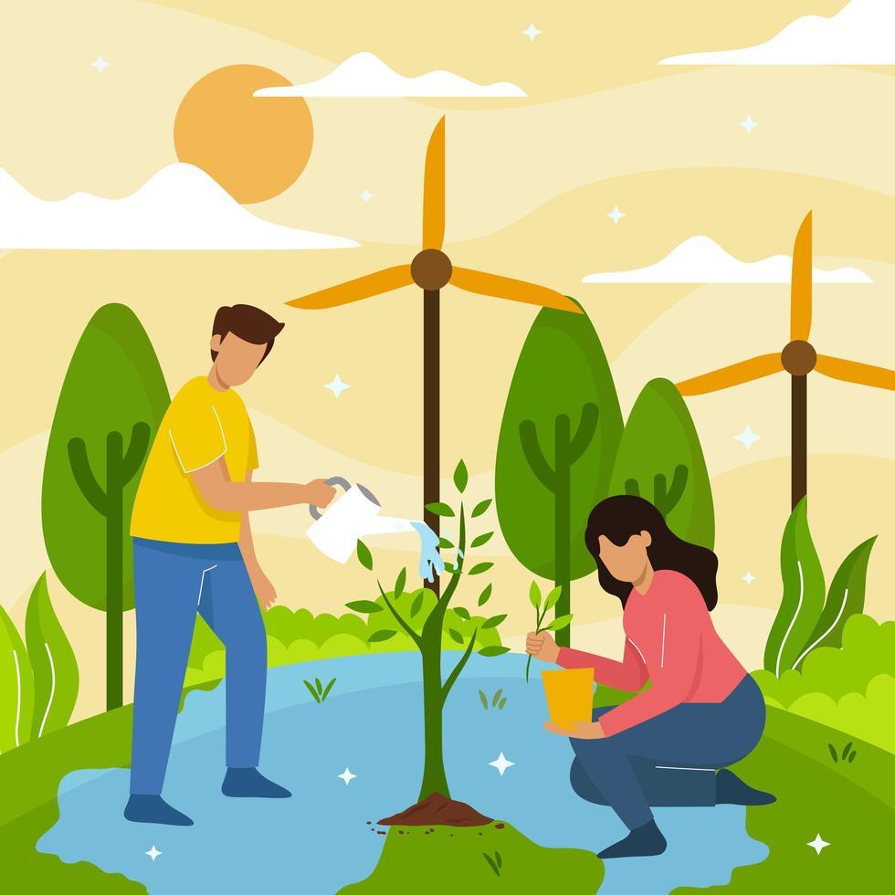 rädda planeten konceptet illustration vektor