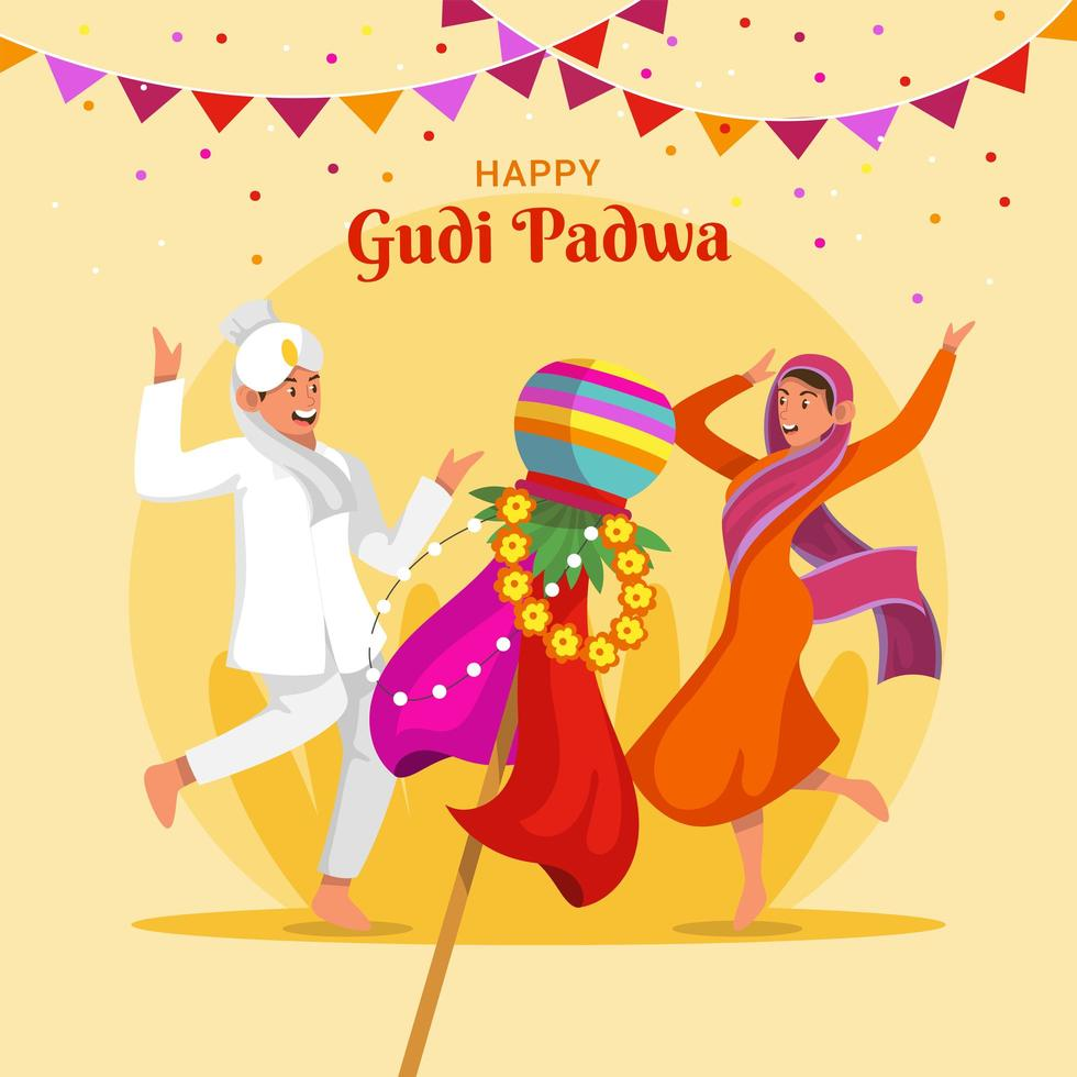 människor firar gudi padwa festival vektor
