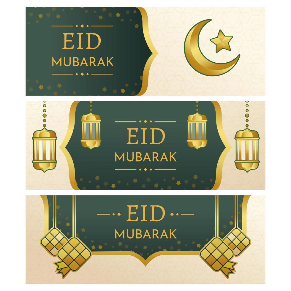 eid mubarak banner samlingar vektor