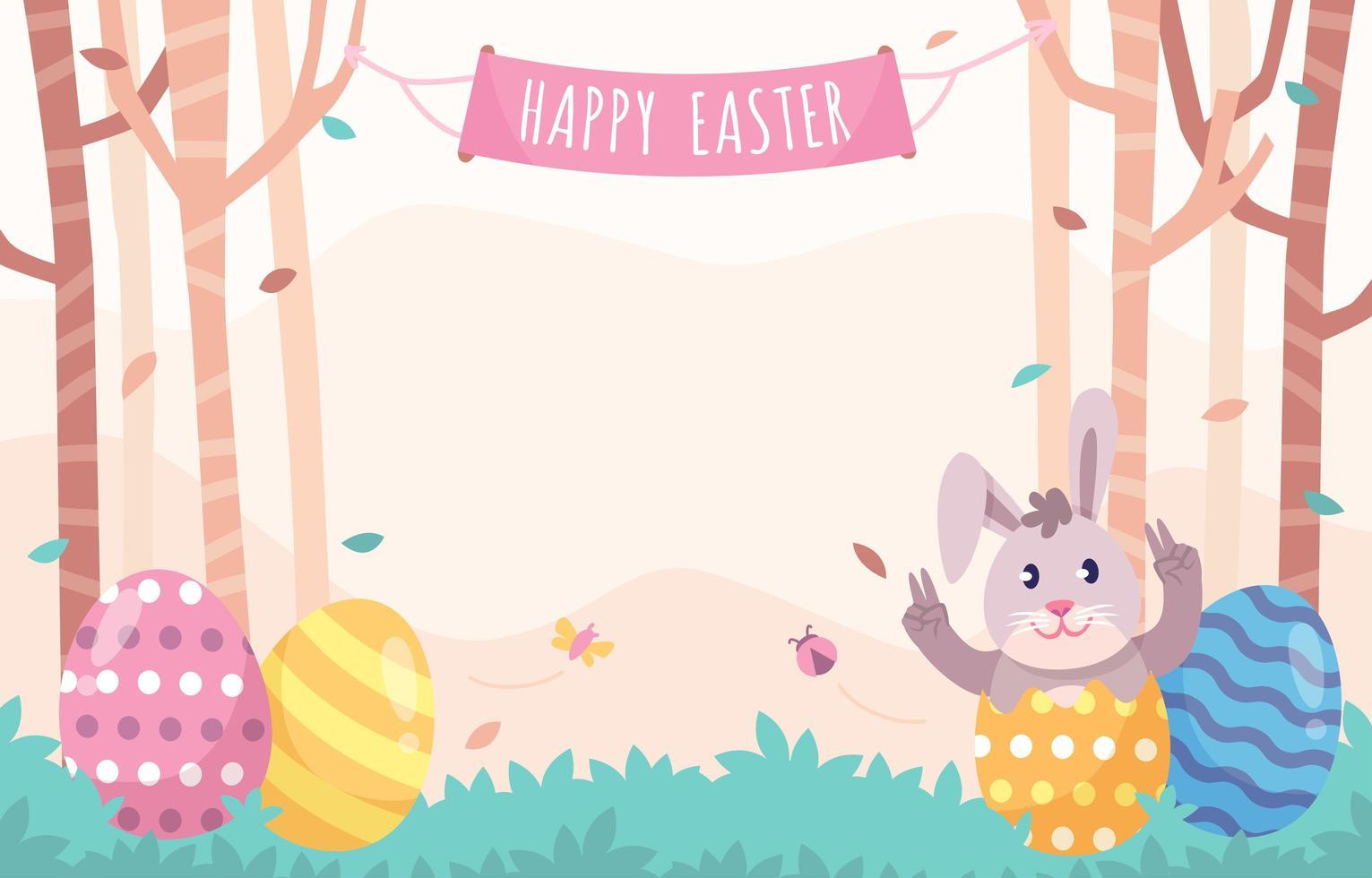 påsk bakgrund med ägg och kaniner vektor