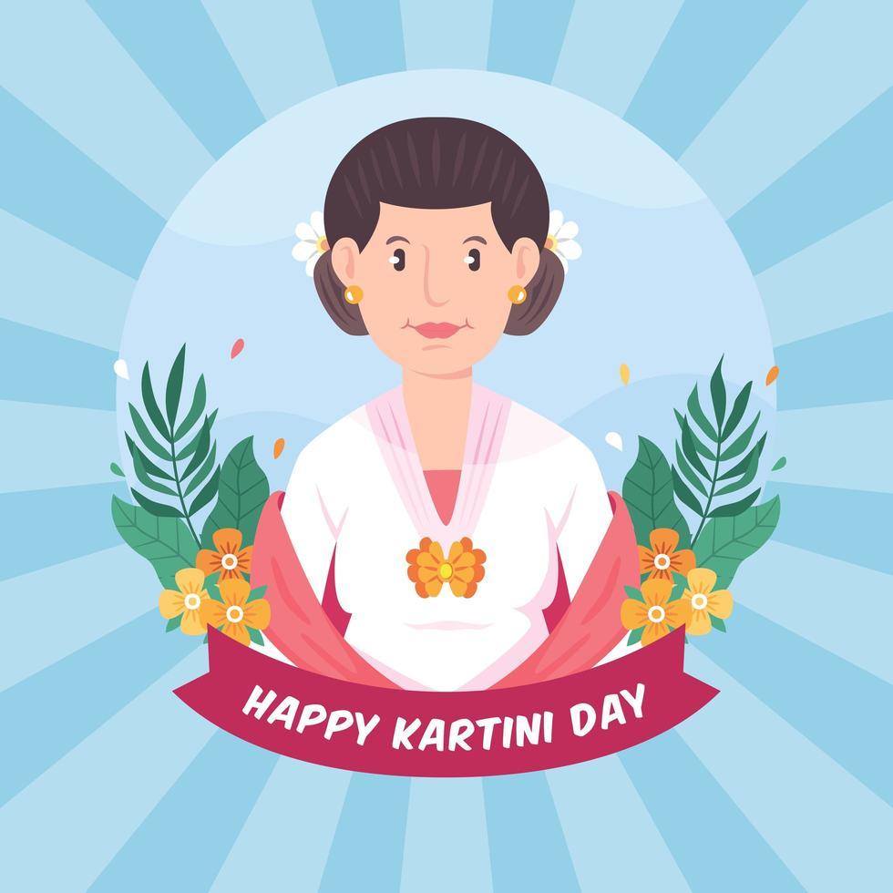 tecknad kvinna firar kartini dag vektor