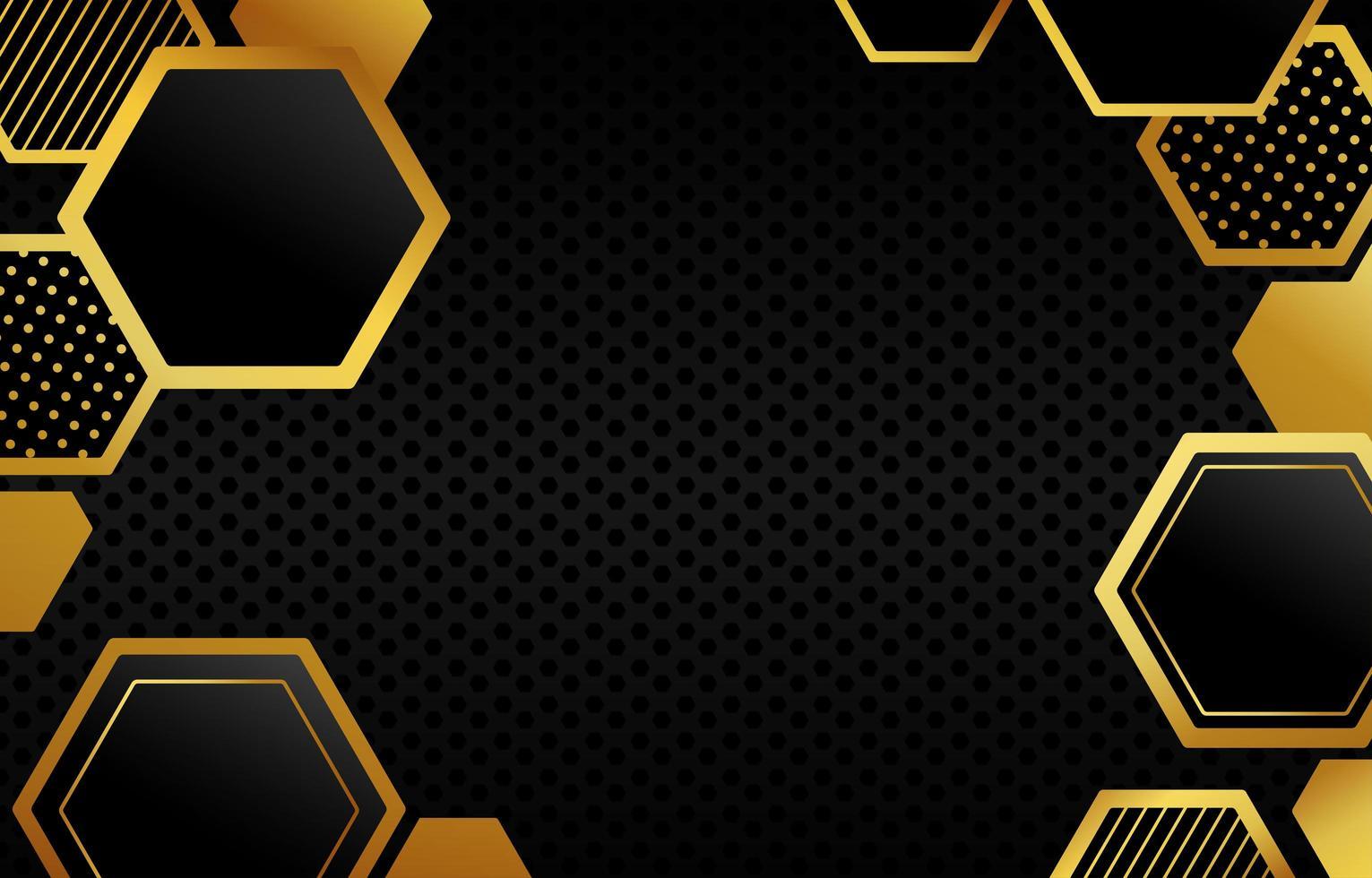 polygon svart guld bakgrund vektor