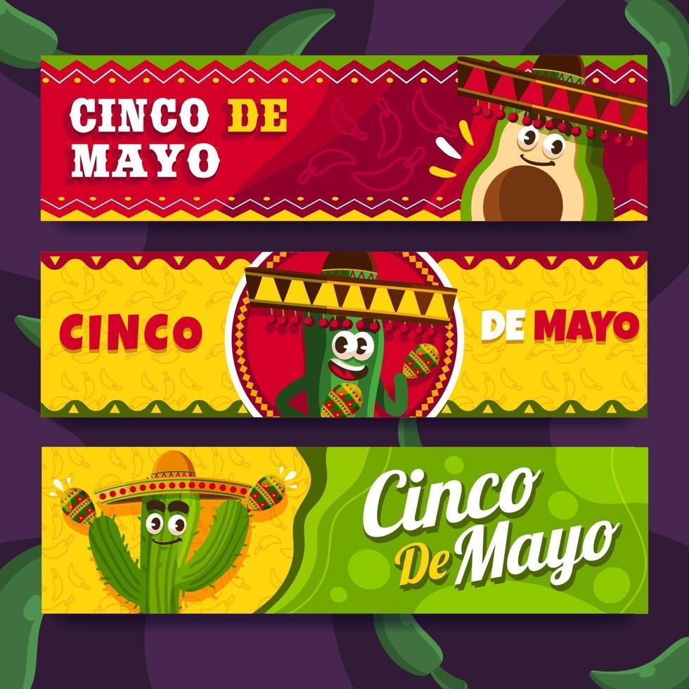 rolig kaktus för cinco de mayo-banner vektor