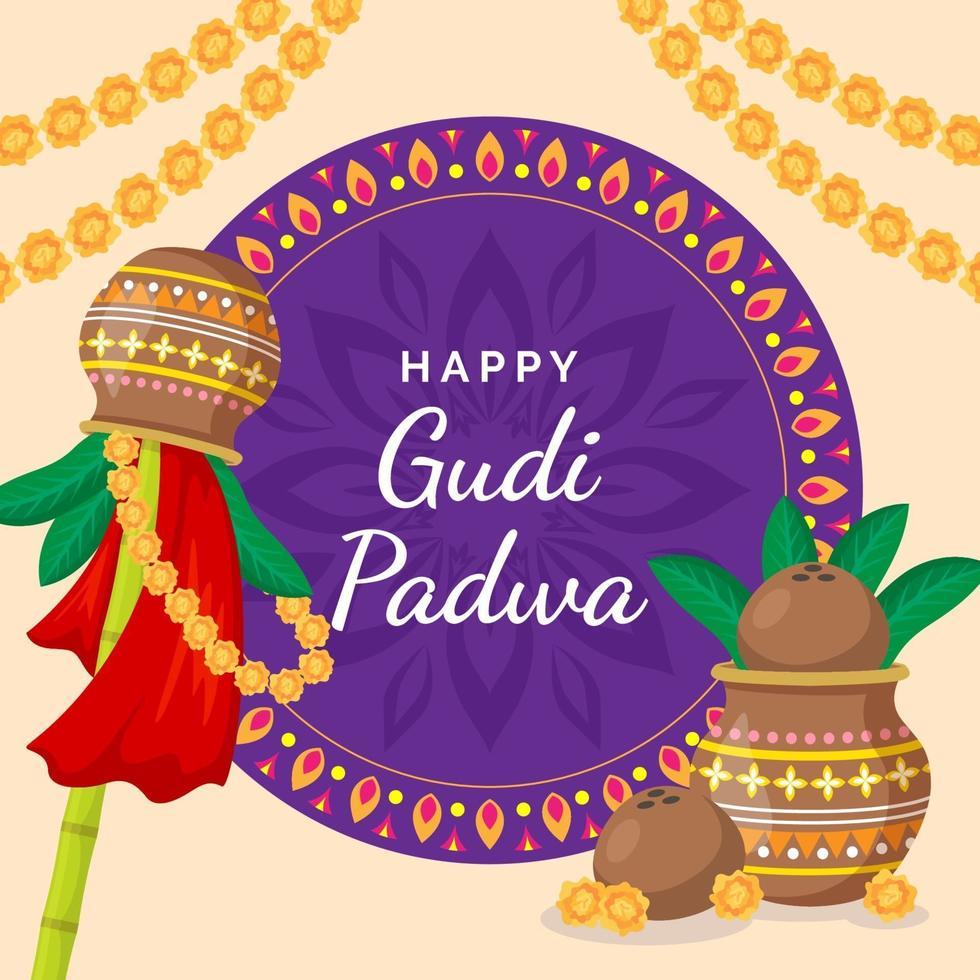 Gudi Padwa Hintergrund im flachen Design vektor