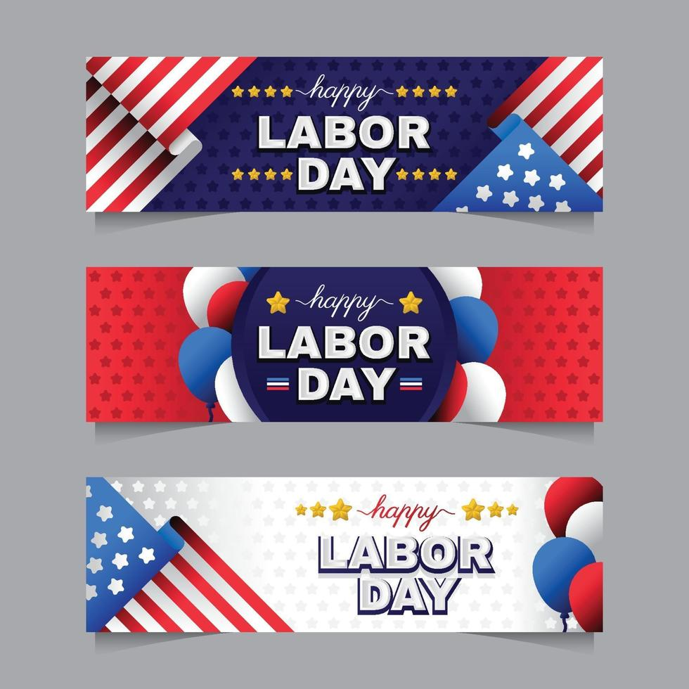 labor day banner collection vektor