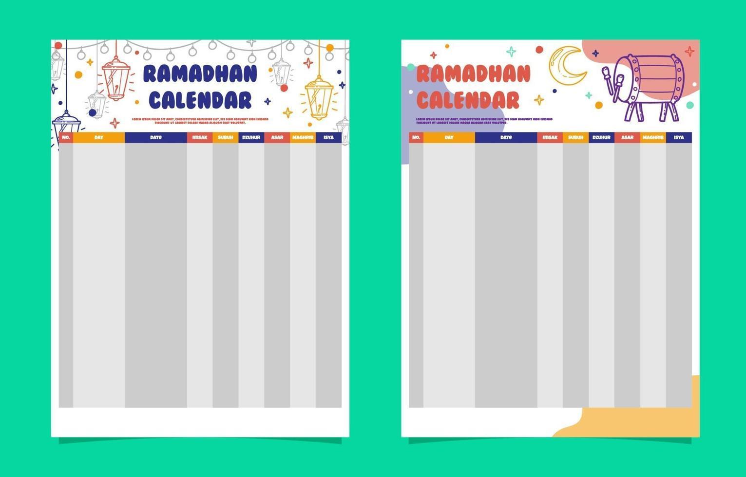 Ramadhan Kalendervorlage vektor