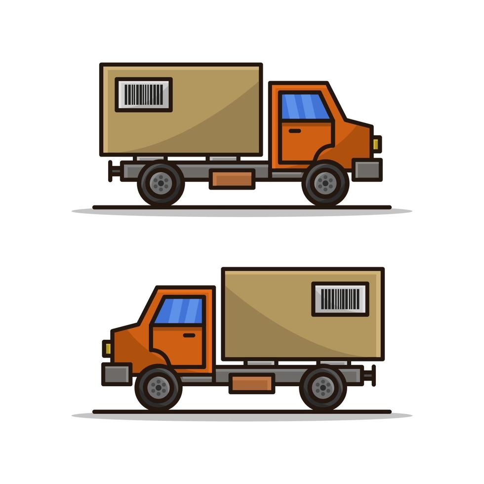 leverans lastbil på vit bakgrund vektor