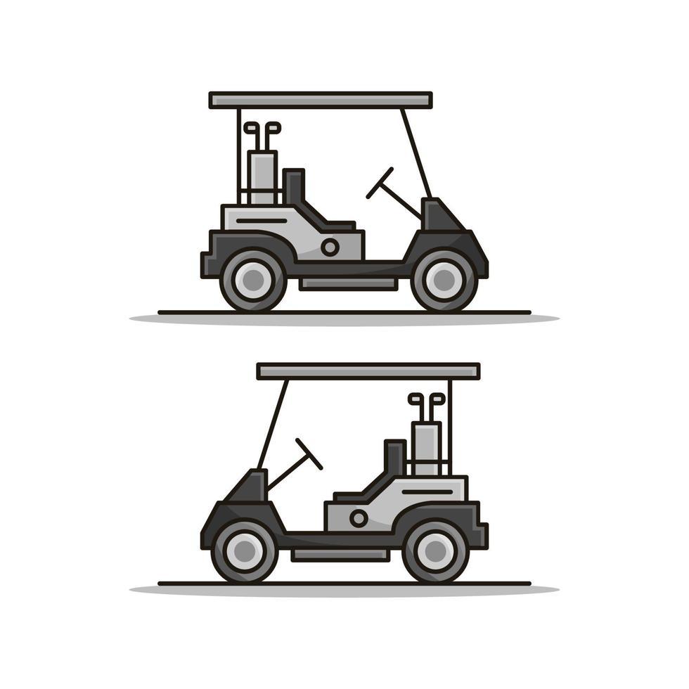 Golfwagen auf weißem Hintergrund vektor